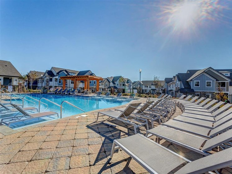 Resort-Style Saltwater Pool with Two Sun Shelves at Creekside at Providence Apartments, Mt. Juliet, TN 37122