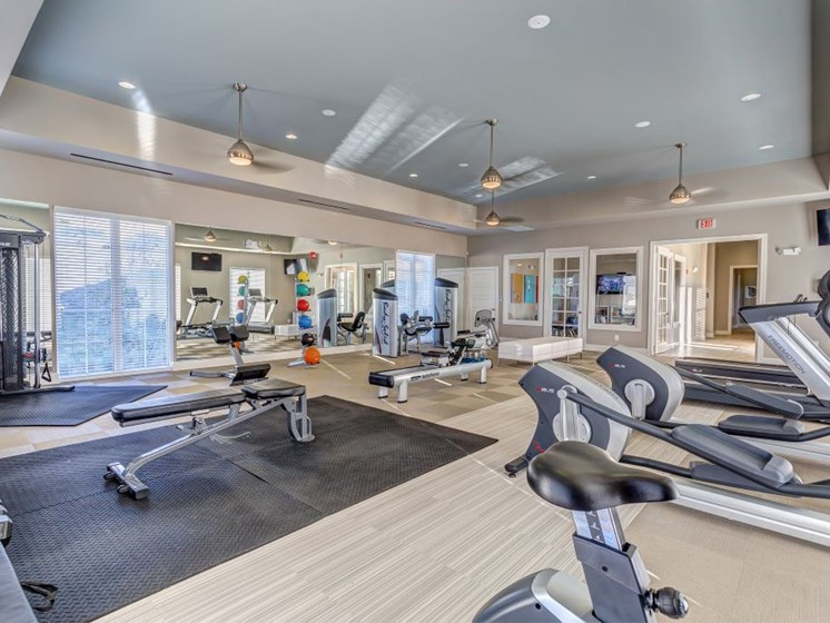 24 Hour State of the Art Fitness Facility with Cardio Machines, Weight Training, Exercise Ball and Flat Screen TVs at Creekside at Providence Apartments, Mt. Juliet, TN 37122