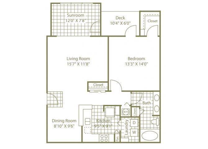 One Bedroom W/ Sunroom