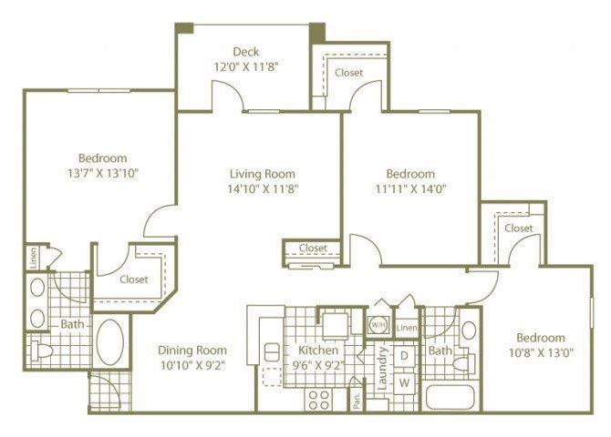 Three Bedroom Floor Plan 5