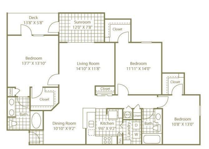 Three Bedroom W/ Sunroom Floor Plan 6