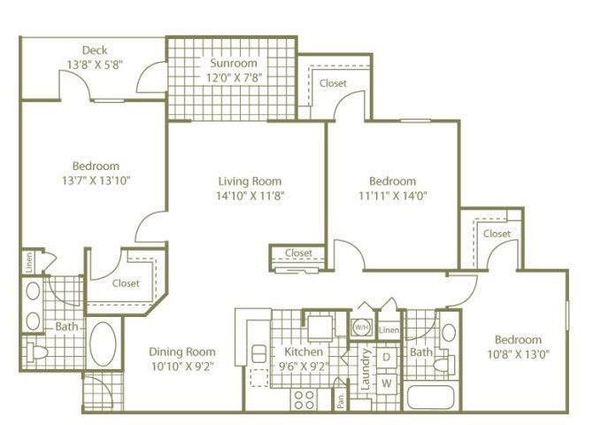 Three Bedroom W/ Sunroom