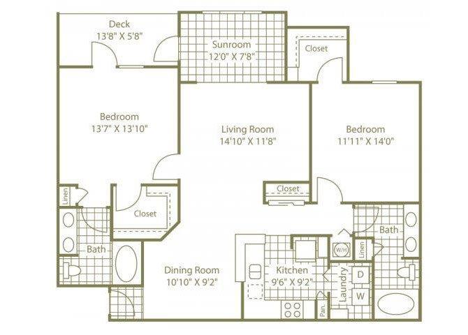 Two Bedroom W/ Sunroom Floor Plan 4