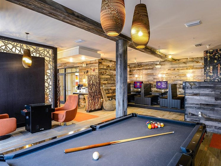 Entertainment Lounge with Billiards for Residents at EOS Apartments, Orlando, FL 32826
