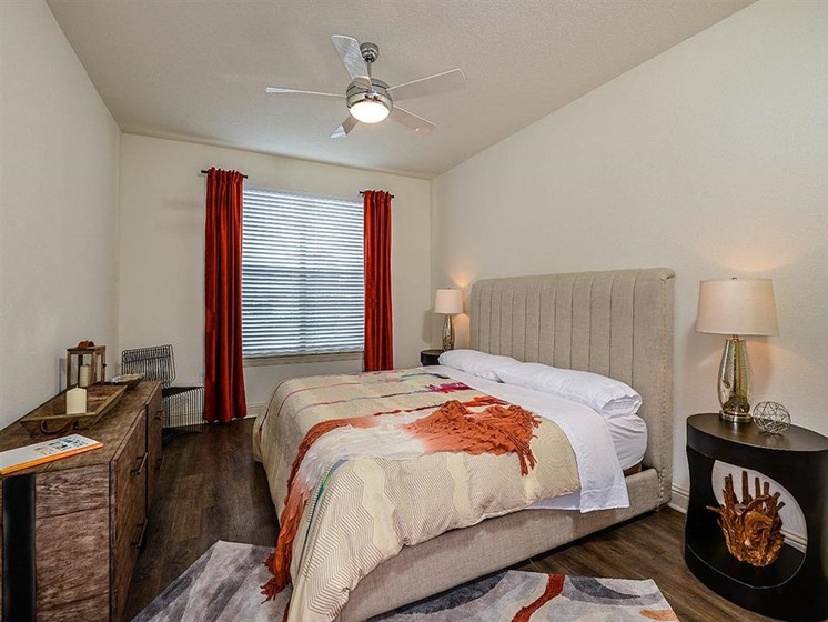 Master Bedroom Feels Large and Spacious with Impressive 9 Foot Ceilings and Large Walk-In Closets at EOS Apartments, Orlando, FL 32826