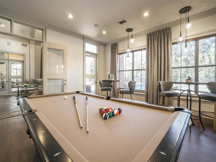 Social Clubroom with Entertaining Space and Billiards Lounge at Estates at Crossroads, Duluth, GA 30096
