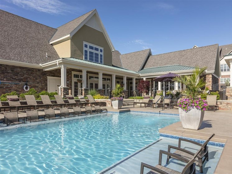 Resort Style Salt Water Pool with Sun Shelf at Greenwood Reserve Apartments, Lenexa, KS 66215