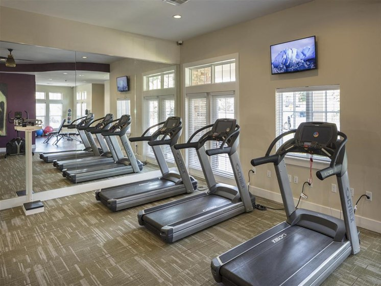 State of the Art Cardio and Strength Center with Flat Screen TVs to Watch During Your Workout at Greenwood Reserve Apartments, Lenexa, KS 66215