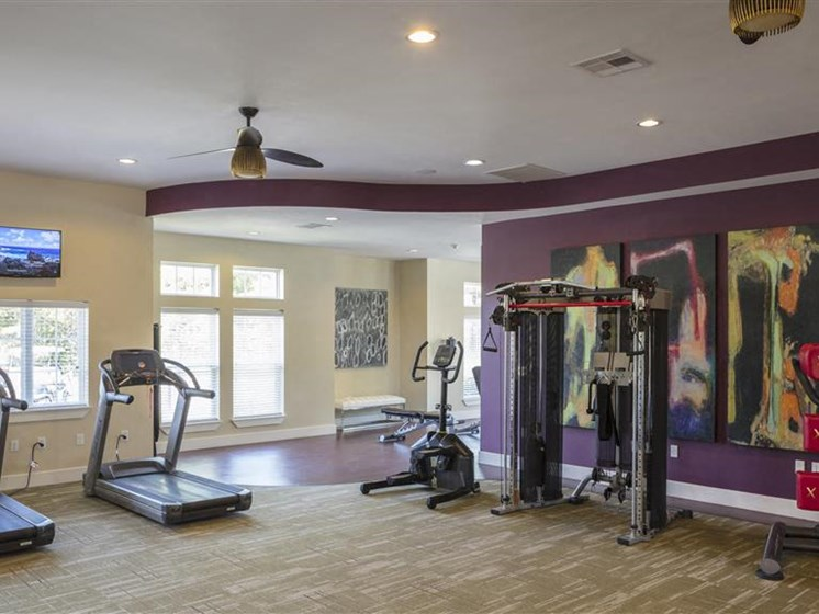 Weight Training Equipment and Strength Center with Flat Screen TVs to Watch During Your Workout at Greenwood Reserve Apartments, Lenexa, KS 66215