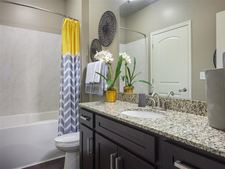 Relax after a long day in your bathroom with garden tub, unique cabinets, designer finishes and granite countertops at Greenwood Reserve Apartments, Lenexa, KS 66215