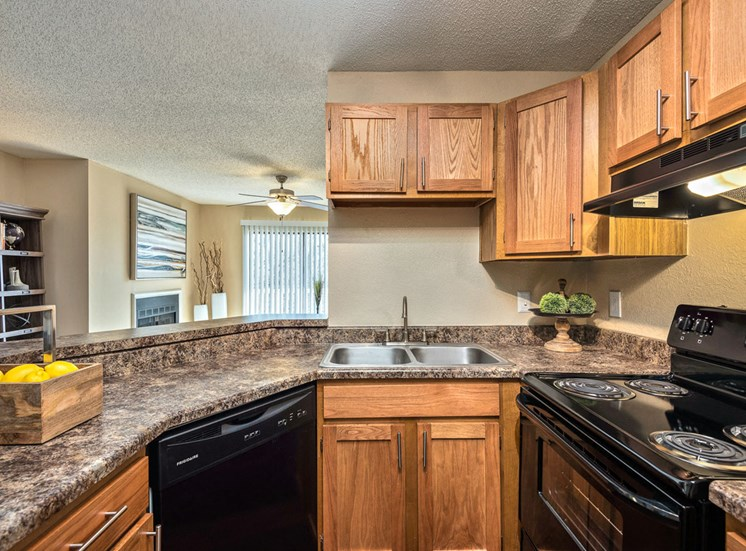 Upgraded Gourmet Kitchens with Black Applicances, New Countertops, Vinyl Plank Wood Flooring and Upgraded Lighting at Hampton Woods Apartments, Shawnee, KS 66217