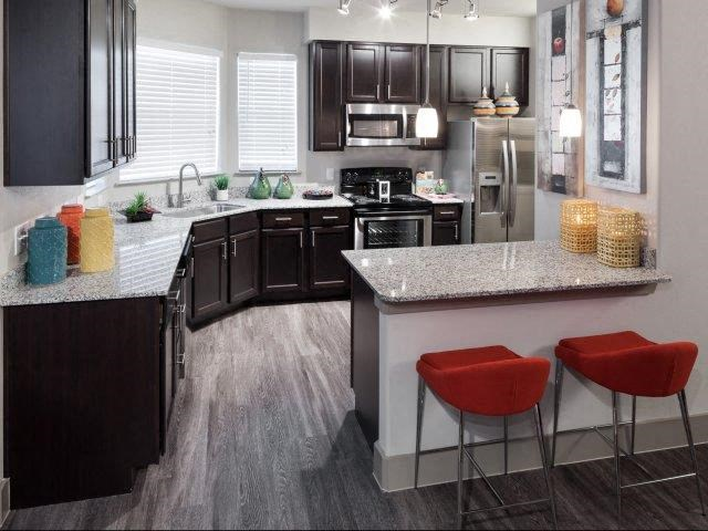 Modern Kitchen with Dark Accent Cabinetry, Updated Lighting and Granite Countertops at Lone Oak Apartments, Round Rock, TX 78665