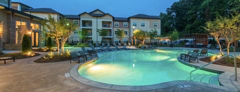 Resort-Style Saltwater Pool with Sun Shelf at Moretti at Vulcan Park Apartment Homes, Homewood, AL 35209