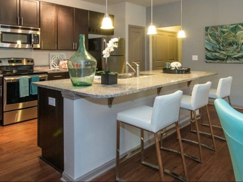 Gorgeous Kitchens Complete with Designer Finishes, Modern Appliances, Granite Countertops and Double Stainless Steel Sinks at Moretti at Vulcan Park Apartment Homes, Homewood, AL 35209
