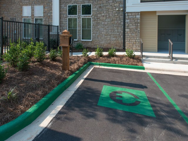 Controlled Access Community with Electric Car Charging Stations at Moretti at Vulcan Park Apartment Homes, Homewood, AL 35209