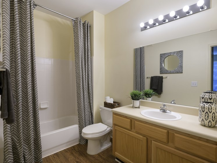 Spacious bathroom with hardwood floors at Parc 1346 in Chattanooga, TN 37421
