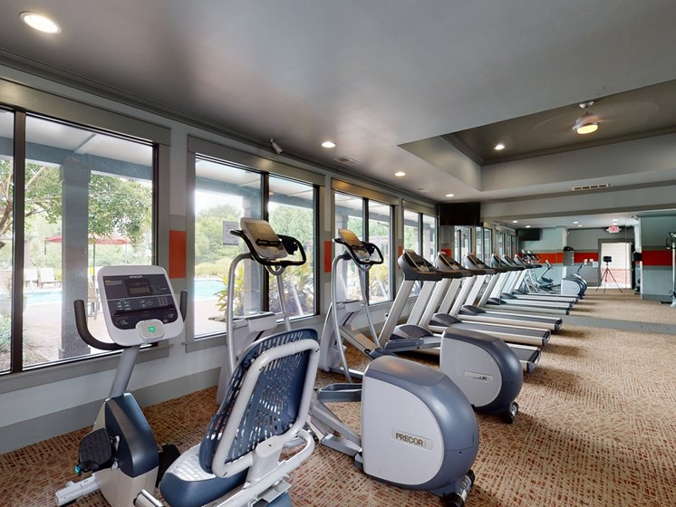 Stationary bikes in fitness center at Parc 1346 in Chattanooga, TN 37421
