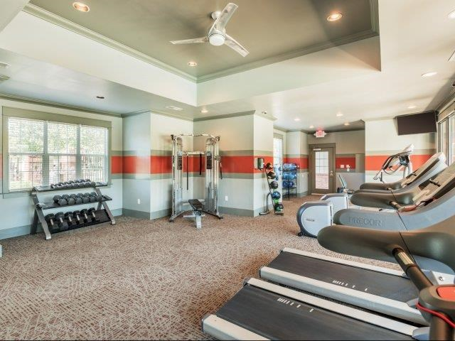 Health and Fitness Club including TVs and Cardio and Weight Training at Parc 1346 Apartments, Chattanooga, TN 37421