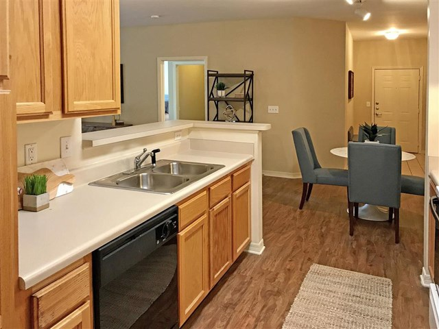 Gorgeous renovated kitchens available with updated counters and cabinetry at Parc 1346 Apartments, Chattanooga, TN 37421