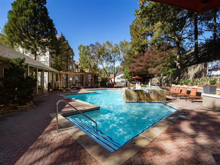 Resort Style Pool with Waterfall Feature and Poolside Wi-Fi Access at Park Summit Apartments, Decatur, GA 30033