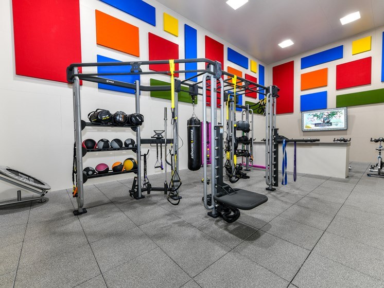 Health and Fitness Club including TVs and Cardio and Weight Training at Pointe Royal Townhome Apartments, Overland Park, KS 66213