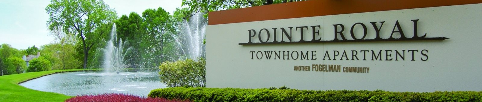 Pointe Royal Apartment Homes Sign with Fountain