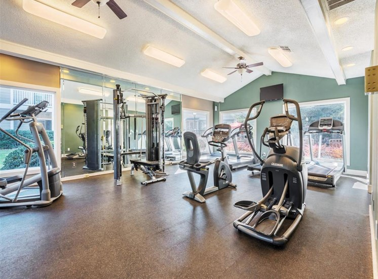 Health and Fitness Club including Cardio Machines and Weight Training Equipment. Flat Screen TVs and more at Rosemont Apartments, Roswell, GA 30076