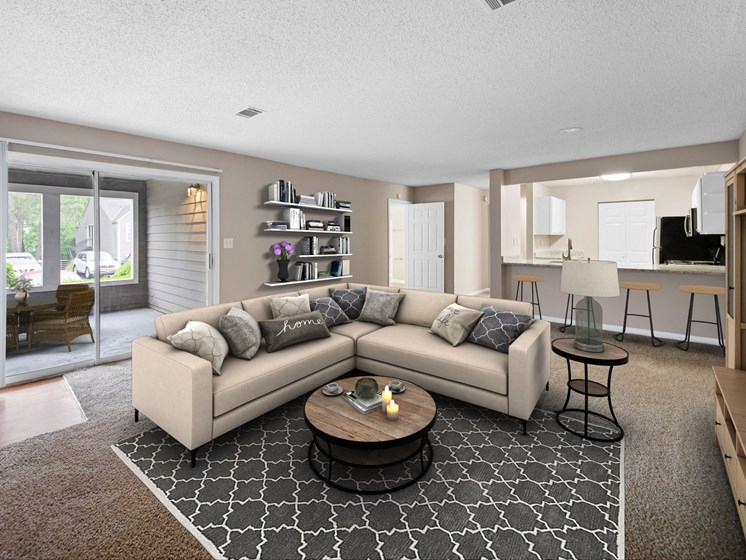 Living Room with open layout at Station Heights Apartments in Alpharetta, GA