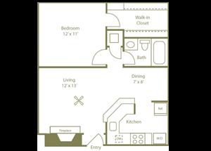 Countrywood Floorplan 1 Bedroom 1 Bath 606 Total Sq Ft at Stewarts Ferry Apartments, Nashville, TN 37214
