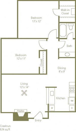 Creekrun Floorplan 2 Bedroom 1 Bath 874 Total Sq Ft at Stewarts Ferry Apartments, Nashville, TN 37214
