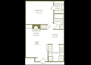 Cypress Floorplan 1 Bedroom 1 Bath 606 Total Sq Ft at Stewarts Ferry Apartments, Nashville, TN 37214