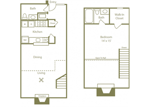 Glendale Floorplan 1 Bedroom 1.5 Bath 843 Total Sq Ft at Stewarts Ferry Apartments, Nashville, TN 37214