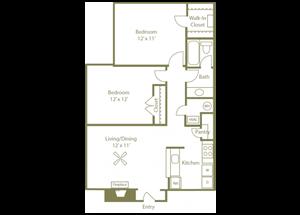 Grove Floorplan 2 Bedroom 1 Bath 826 Total Sq Ft at Stewarts Ferry Apartments, Nashville, TN 37214