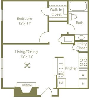 Pines Floorplan 1 Bedroom 1 Bath 582 Total Sq Ft at Stewarts Ferry Apartments, Nashville, TN 37214