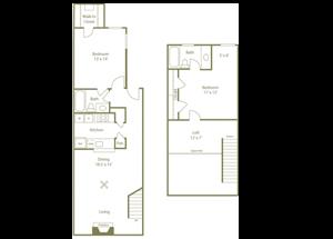 Ravenwood Floorplan 2 Bedroom 2 Bath 1160 Total Sq Ft at Stewarts Ferry Apartments, Nashville, TN 37214