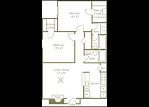 Springs Floorplan 2 Bedroom 2 Bath 940 Total Sq Ft at Stewarts Ferry Apartments, Nashville, TN 37214