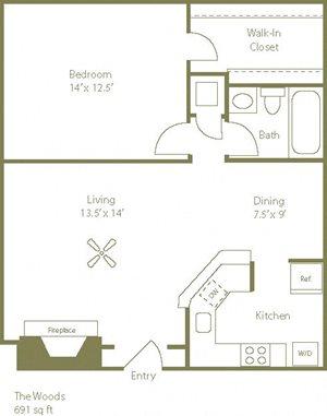 The Woods Floorplan 1 Bedroom 1 Bath 691 Total Sq Ft at Stewarts Ferry Apartments, Nashville, TN 37214