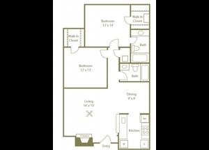 Timberwood Floorplan 2 Bedroom 2 Bath 987 Total Sq Ft at Stewarts Ferry Apartments, Nashville, TN 37214