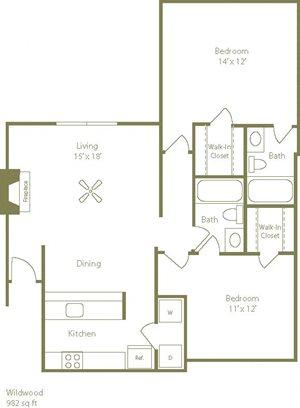 Wildwood Floorplan 2 Bedroom 2 Bath 982 Total Sq Ft at Stewarts Ferry Apartments, Nashville, TN 37214