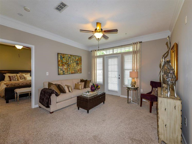 Elegant Crown Moulding and Plank Hardwood Flooring and Frieze Carpeting Throughout Your Apartment Home at Sugarloaf Crossing Apartments, Lawrenceville, GA 30046