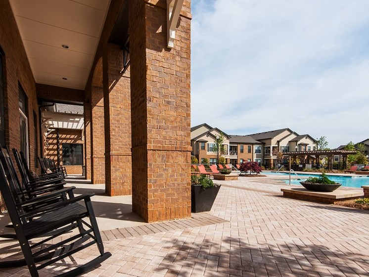 Pool Side Relaxing Area With Sundeck at Tapestry at Hollingsworth Park, Greenville, South Carolina