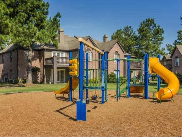 Children have a place to run and play at The Addison too! Slides, Climbing Equipment and Bike Parking at The Addison at Collierville Apartments, Collierville, TN 38017