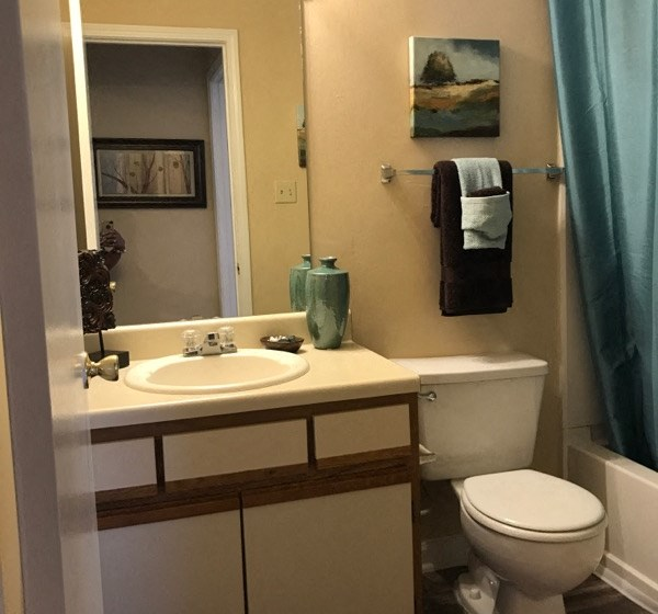 Spacious Bathroom with Relaxing Garden Tub at The Addison at Collierville Apartments, Collierville, TN 38017