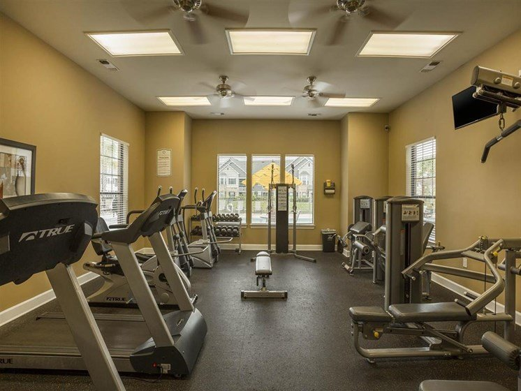 Upgraded Fitness Center with Cardio Machines, Weight Training Equipment and Flat Screen TV to Use to During Your Workout at The Arlington at Eastern Shore Apartments, Spanish Fort, AL 36527