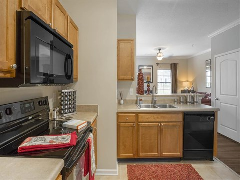 Upgraded Units Available with Sleek Black Appliances, Vinyl Plank Wood Flooring, Bay Windows plus Crown Moulding at The Arlington at Eastern Shore Apartments, Spanish Fort, AL 36527