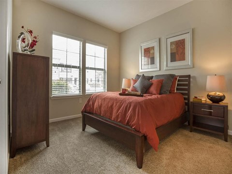 Master Bedroom Feels Large and Spacious with Impressive High Ceilings and Large Walk-In Closets at The Arlington at Eastern Shore Apartments, Spanish Fort, AL 36527
