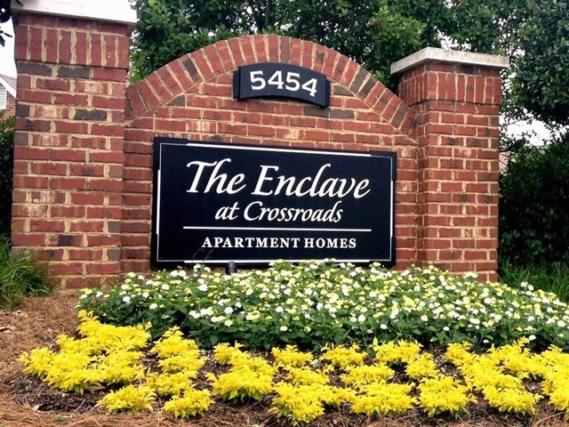 Elegant Entry Signage at The Enclave at Crossroads, Raleigh, North Carolina
