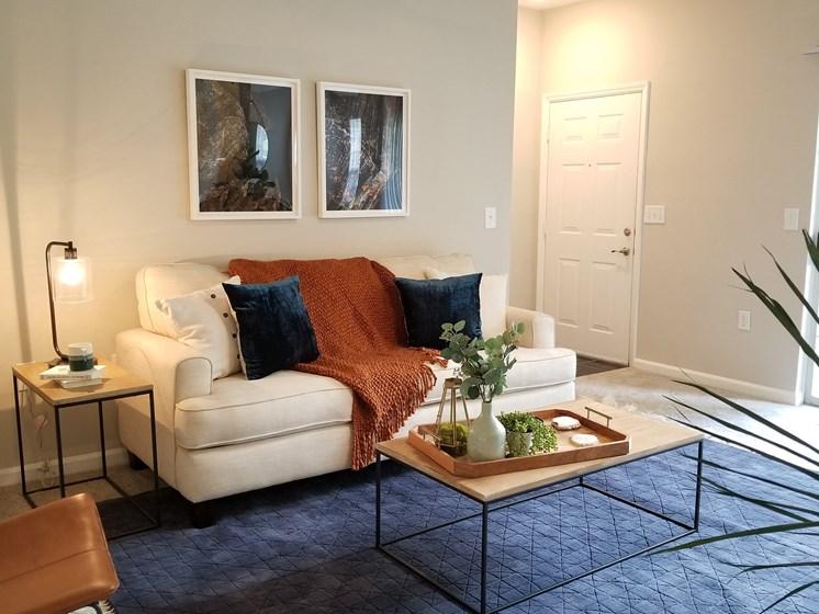 Bright Living Room at The Enclave at Crossroads, North Carolina, 27606