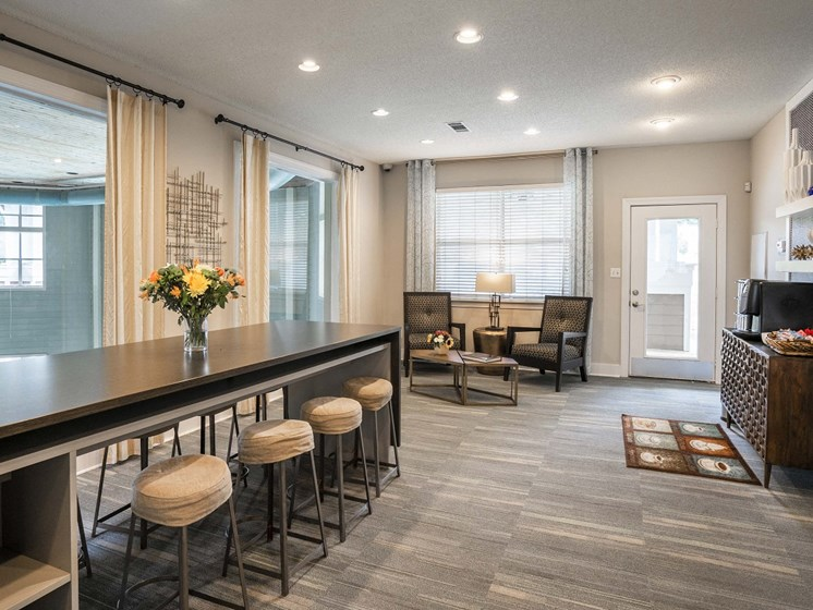 Entertaining Space with table and chairs with seating for 8 at The Lexington Apartments, Nashville, TN 37209