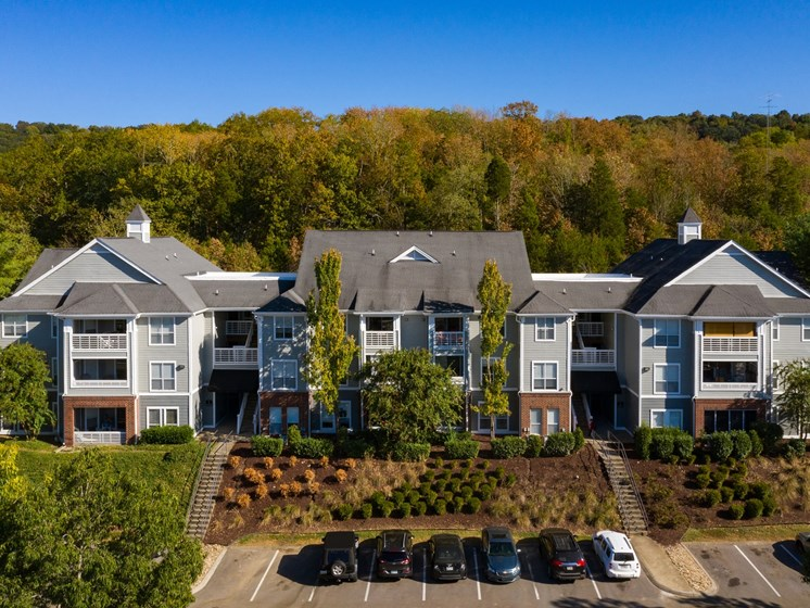 Meticulously maintained grounds with mature trees surround the apartment homes at Alden Place at The Lexington Apartments, Nashville, TN 37209